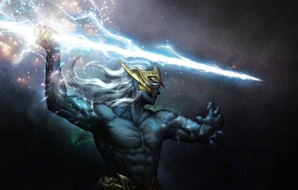 Picture lightning, stars, the God of thunder, Zeus Thundergod, Zeus The Thunderer