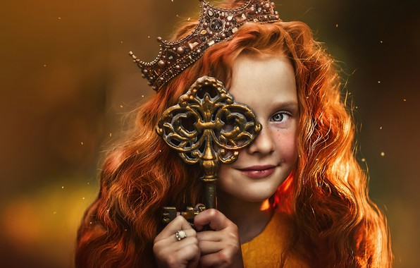 Picture background, crown, key, girl, red, Princess, redhead, Ксения Лысенкова