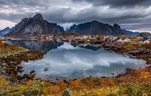 Picture autumn, clouds, light, landscape, mountains, clouds, nature, reflection, stones, shore, vegetation, Norway, houses, pond, the …