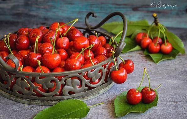 Photo wallpaper berries, table, cherry