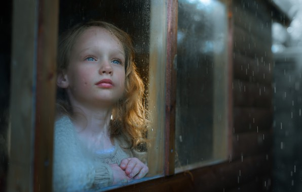 Picture house, rain, window, girl