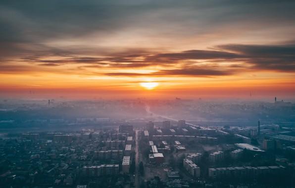 Picture sunset, the city, fog, Lithuania, Kaunas