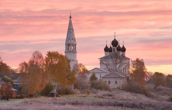 Picture field, autumn, the sky, clouds, trees, sunset, nature, pink, dawn, village, village, Church, tractor, haze, …