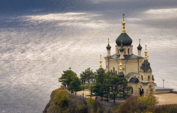 Picture sea, Church, temple, Russia, Crimea, rock, The black sea, Foros, Red rock, Alexey Bagaryakov, Church …