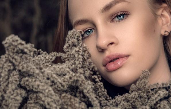 Picture look, close-up, face, model, portrait, makeup, hairstyle, brown hair, beauty, bokeh, Emilia, Janusz Żołnierczyk