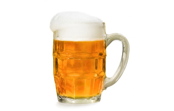 Picture foam, beer, mug, white background
