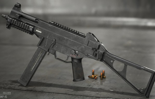 Picture rendering, weapons, gun, weapon, render, SMG, ump-45, Heckler & Koch, sub machine gun, gun machine …