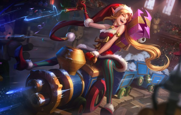 Picture The engine, New Year, Hat, Elf, Art, Splash, League of Legends, Gifts, LoL, Elf, Artwork, …