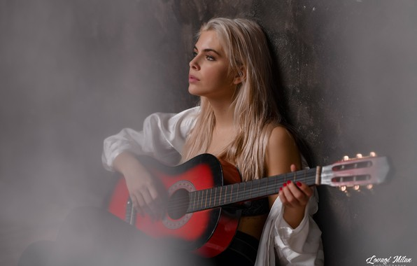 Picture girl, wall, mood, guitar, blonde, Knight Of Milan