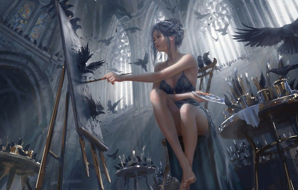 Picture colors, girl, fantasy, legs, barefoot, birds, painting, brunette, elf, digital art, artwork, fantasy art, feet, …
