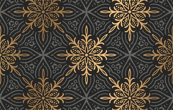 Picture grey, gold, black background, pattern, Gold, Floral, Ornament