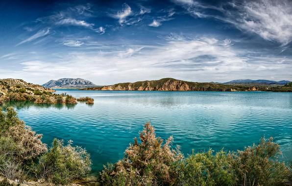 Picture clouds, landscape, mountains, nature, lake, vegetation, Spain, Malaga