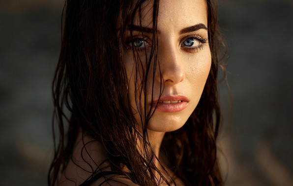 Picture look, the sun, face, model, portrait, wet, makeup, hairstyle, brown hair, beauty, bokeh, Natasha, Ann …