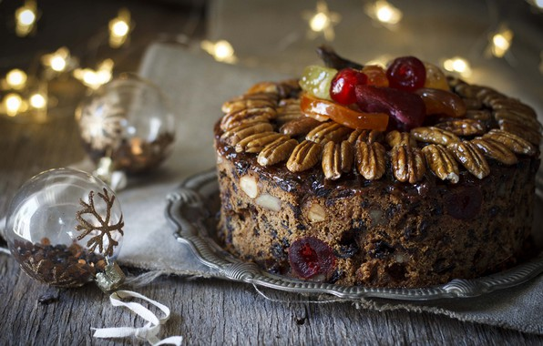 Picture balls, cake, New year, nuts, garland, delicious, marmalade