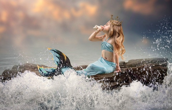 Picture wave, crown, sink, tail, little, on the stone, the little mermaid, sea foam, mermaid, the …