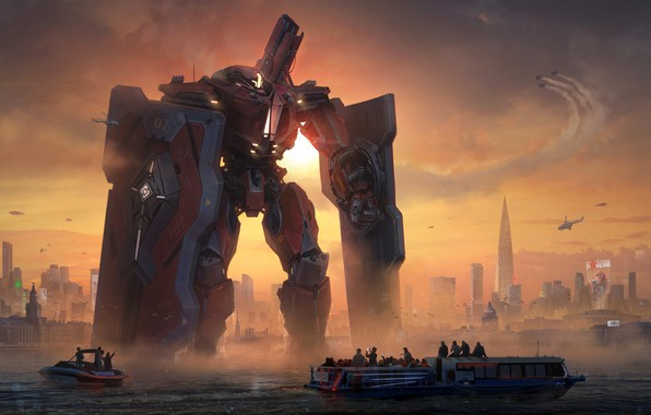 Picture sunset, the city, river, boat, robot, art, boat, shield, pacific rim, jaeger