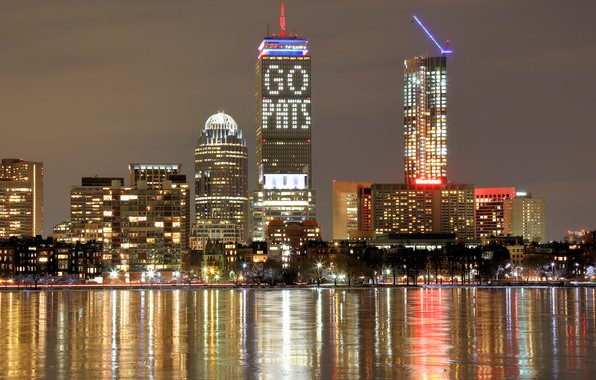 Picture trees, lights, river, building, home, the evening, lights, USA, promenade, skyscrapers, Boston