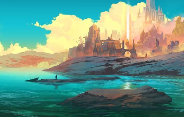 Picture fantasy, sky, figure, clouds, lake, birds, hills, Castle, digital art, artwork, boat, fantasy art, towers, …
