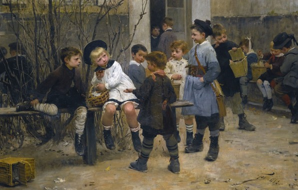 Picture 1882, French painter, Henry Jules Jean Geoffroy, Time for the taste, Henri Jules Jean Geoffroy, …