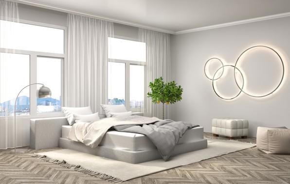 Picture design, bed, interior, bedroom, modern