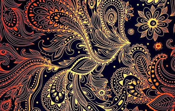 Picture abstraction, black background, ornament, screensaver on your desktop, autumn palette, fantasy figure, figure Khokhloma
