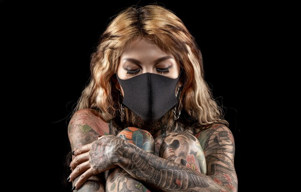 Picture girl, mask, tattoo