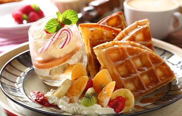 Picture ice cream, fruit, dessert, waffles