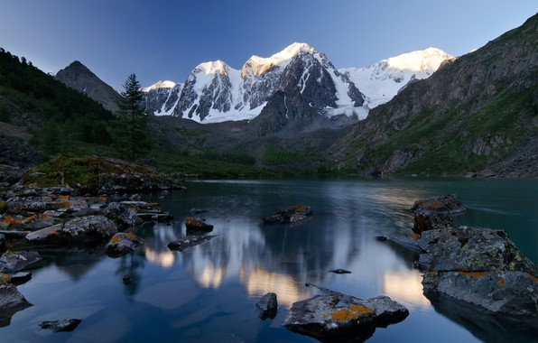 Photo wallpaper forest, summer, mountains, lake, blue, stones, the slopes, tops, ate, pond, in the mountains, snow, ...