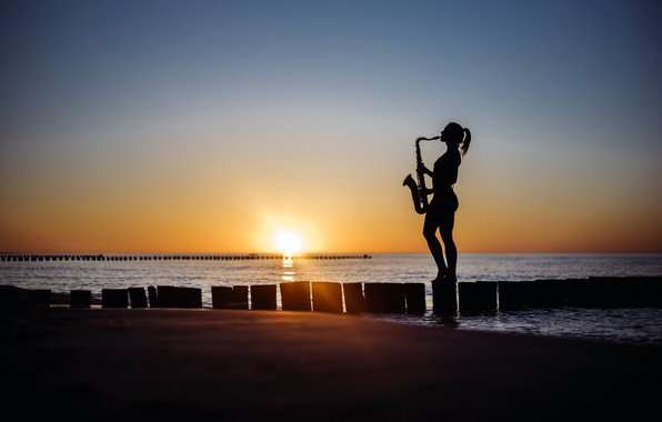 Picture sea, beach, girl, sunset, shore, saxophone