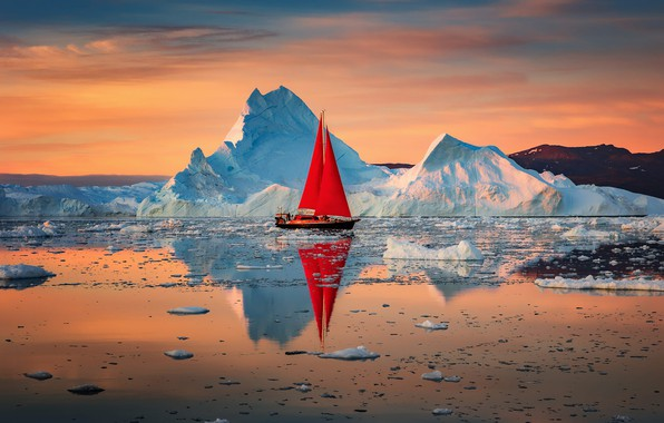 Picture landscape, nature, reflection, the ocean, dawn, boat, sailboat, ice, sails, Greenland