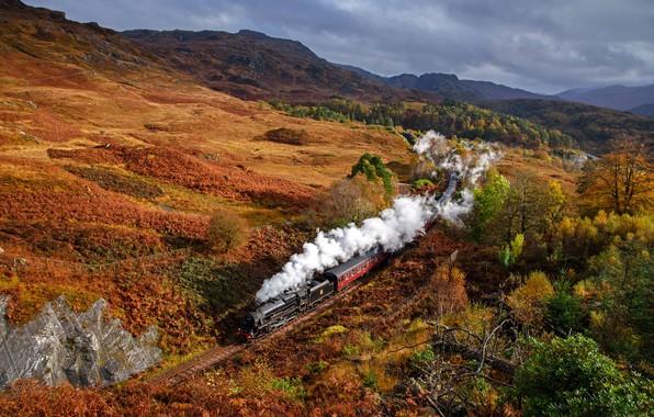 Picture autumn, hills, smoke, train, Scotland