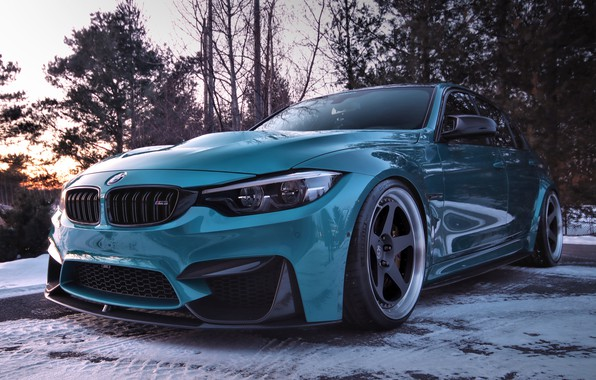Picture winter, snow, BMW, turquoise
