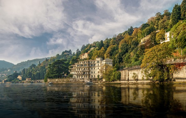 Picture forest, the sun, clouds, trees, mountains, lake, shore, home, Italy, Venice, Como, Hotel Villa Flori