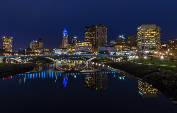Picture photo, Home, Bridge, Night, The city, River, USA, Ohio, Columbus, Street lights