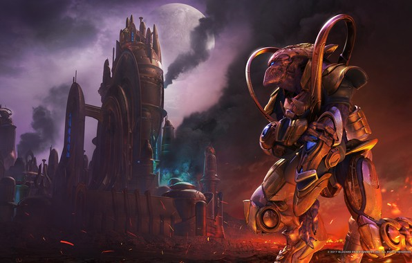 Picture the city, smoke, starcraft, strategy, protoss, lose, protos, remastered