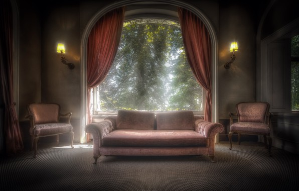Picture house, sofa, chair