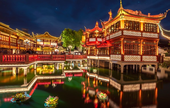 Picture flowers, pond, Park, reflection, China, the building, the evening, garden, China, Shanghai, Shanghai, architecture, Huxingting …