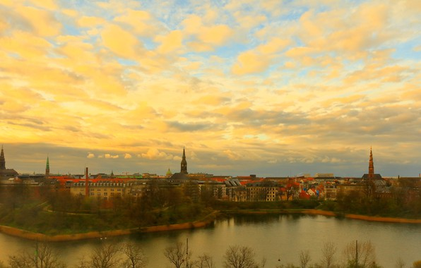 Picture autumn, the sky, clouds, trees, the city, shore, view, building, home, the evening, Denmark, panorama, ...