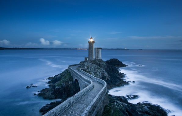 Picture Landscape, Bridge, Sea, Lighthouse