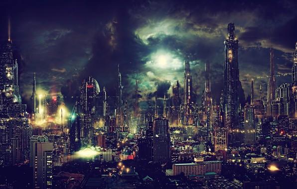 Picture light, night, city, the city, lights, lights, future, skyscrapers, future, light, night, skyscrapers