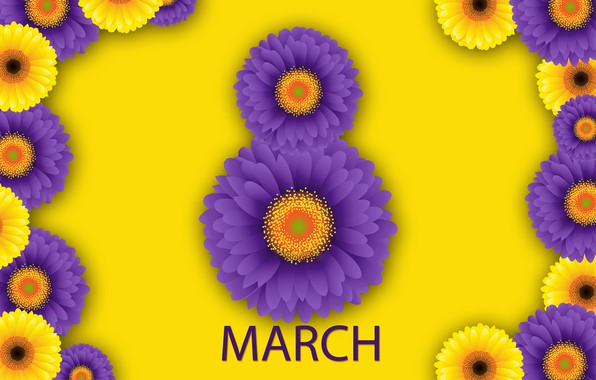 Picture flowers, happy, March 8, chrysanthemum, flowers, women's day, women's day
