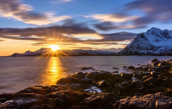 Picture sunset, mountains, stones, rocks, coast, Norway, Lofoten