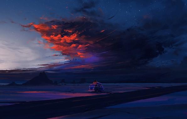 Picture twilight, road, sky, desert, landscape, nature, sunset, night, art, clouds, mountain, rocks, stars, evening, dusk, …