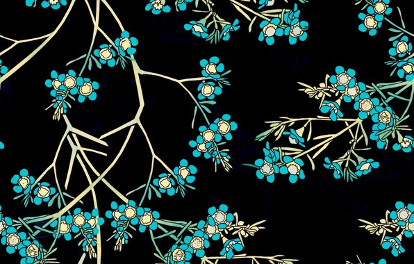 Picture flowers, branches, background, black, blue, design, pattern