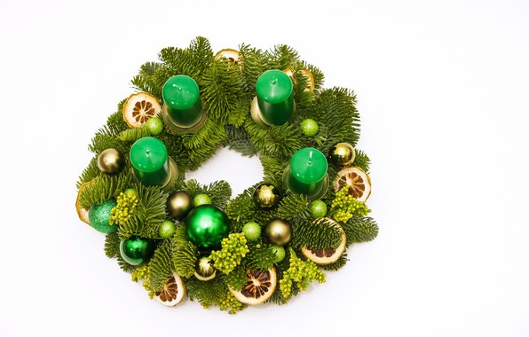 Picture balls, decoration, holiday, toys, candles, Christmas, white background, New year, green, pine branches