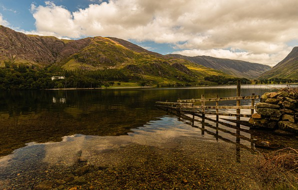 Picture photo, England, Nature, Mountains, River, Coast, Buttermere Allerdale District