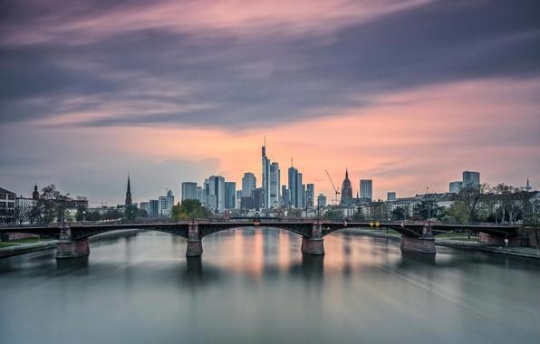 Picture bridge, the city, Frankfurt am Main
