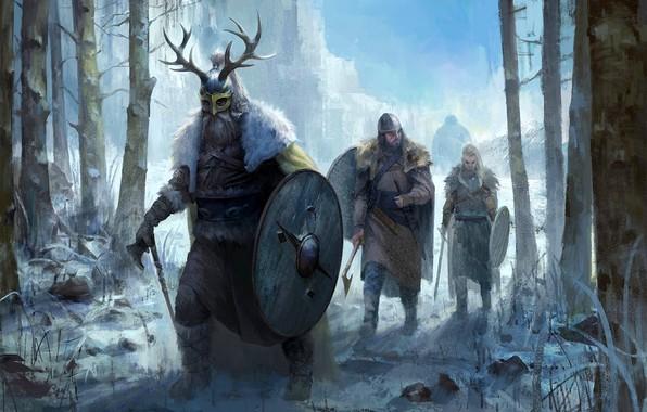 Picture Trees, Snow, Helmet, Shield, The Vikings, Battle axe