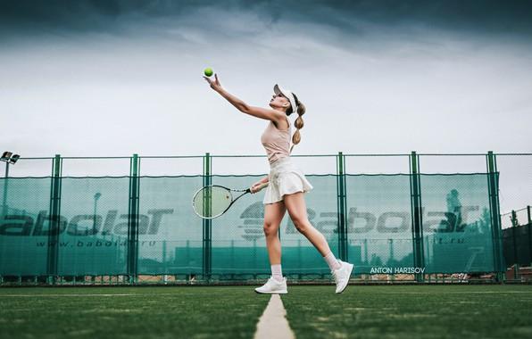 Picture girl, racket, the ball, tennis, court, submission, Anton Kharisov, Katrin Sarkozy