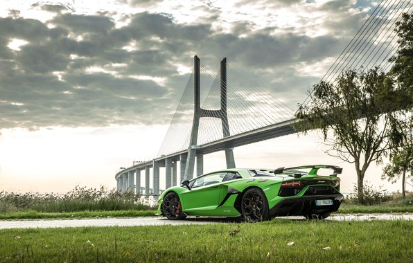Picture bridge, Lamborghini, supercar, rear view, 2018, Aventador, Lisbon, SVJ, Aventador SVJ